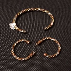 Copper, silver, and gold bangle/earring set